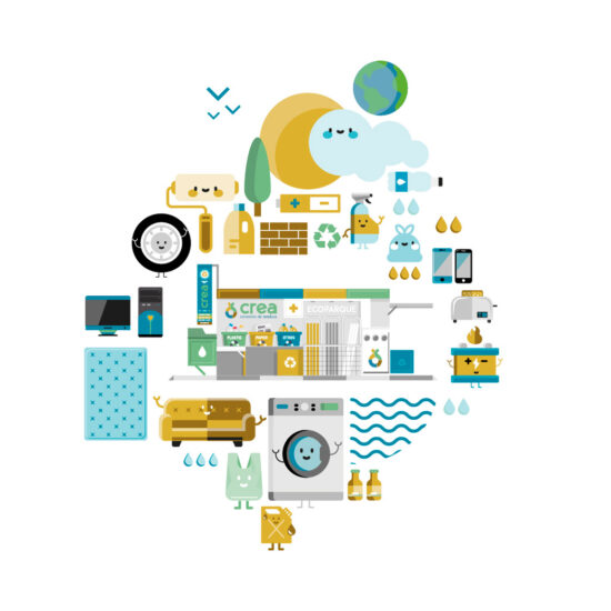 Ilustración Ecoparque móvil Consorcio CREA - Vaersa